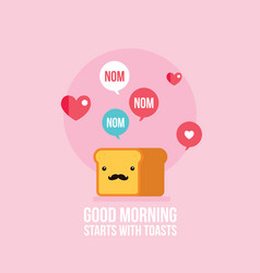 Cute toast bread loaf with mustache cartoon vector