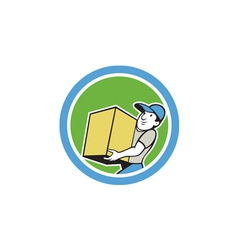 Delivery Worker Carrying Package Cartoon vector