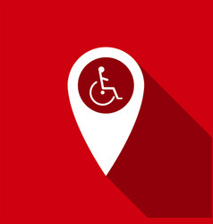 Disabled handicap in map pointer invalid icon vector