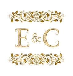 E and c vintage initials logo symbol vector
