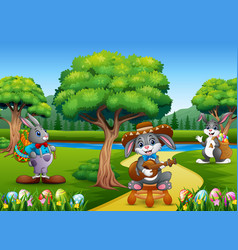 Easter bunnies and easter egg on the nature vector