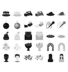 Event organisation blackmonochrome icons in set vector