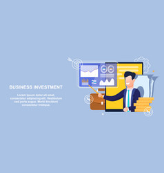Flat banner business investment in economy sector vector