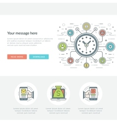 Flat line social time management concept vector