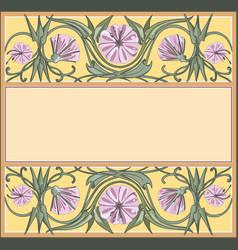 Floral frame template art-nouveau style vector