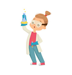 Funny girl in laboratory coat holding glass flask vector
