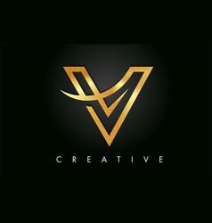 Golden gold v letter design logo letter v icon vector