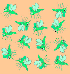 Green mosquito pattern vector
