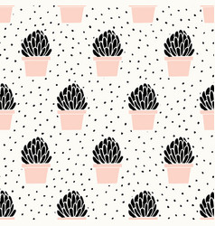 Hand drawn succulent pattern vector