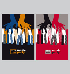 hands and piano keys vector image