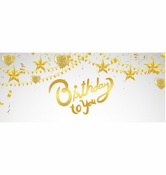 Happy birthday lettering hand drawn invitation vector