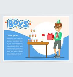 happy boy holding gift box cute kid celebrating vector image