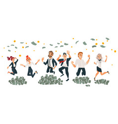 happy business people jumping under money rain vector image