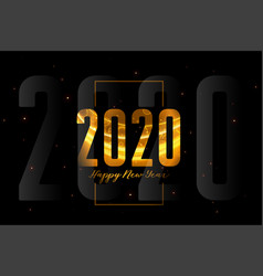 happy new year 2020 black and gold background vector image