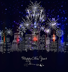 Happy new year city colourful with fireworks vector