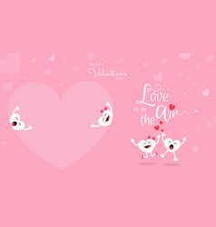 happy valentines day cute cartoon on pink vector image