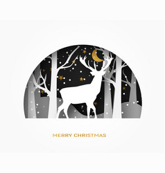 hello winter 3d abstract paper cut of vector image