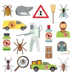 Home pest control service flat icons set vector image