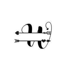Initial w love monogram split letter isolated vector