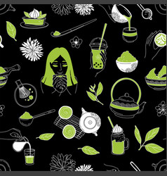 japanese ceremony with matcha eastern woman hands vector image