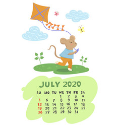 July 2020 calendar with a mouse holding a kite vector