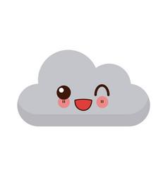 kawaii sun and cloud weather web icon vector image