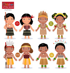 Kids in different traditional costumes new vector