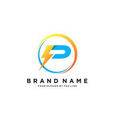 Letter p flash electrical logo design vector