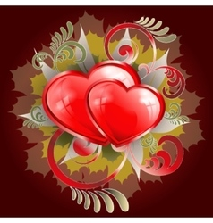 many red hearts on a dark red background vector image