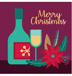 Merry christmas card with flower and champagne vector