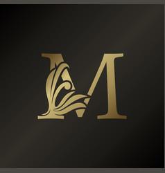 Monogram letter m luxury swirl ornate decorative vector