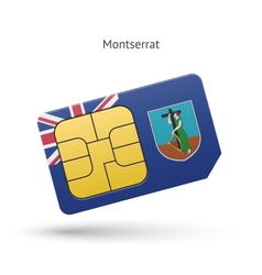 Montserrat mobile phone sim card with flag vector image