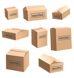 Moving Cardboard Box On White Background Set vector image