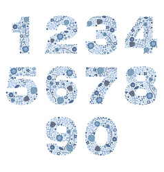Number floral blue porcelain decorative elements vector