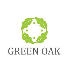 Oak leaves logo nature organic environment vector