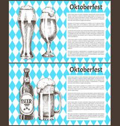 oktoberfest posters set beer goblets bottle vector image