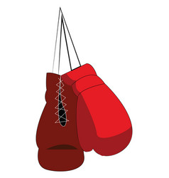 Pair red boxing gloves is hanging from the vector