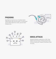 phishing and ddos attack cyber security concept vector image