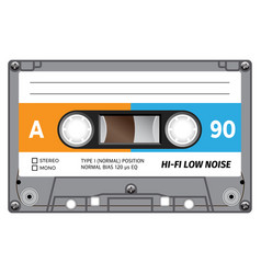 Plastic audio cassette tape vector