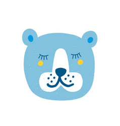 pretty bear face with closed eyes isolated on vector image