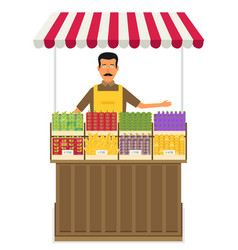 Produce shop keeper fruit and vegetables retail vector