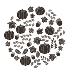 pumpkins maple leaves branch decoration pattern vector image