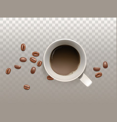realistic cup of coffee with coffee beans vector image
