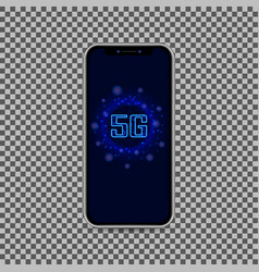 Realistic smartphone with 5g wireless internet vector