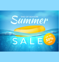 Realistic summer sale poster end season sea vector