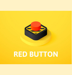 red button isometric icon isolated on color vector image
