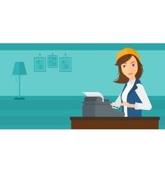 Reporter working at typewriter vector