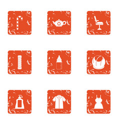 Resistance to wear icons set grunge style vector