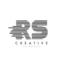 rs r s zebra letter logo design with black and vector image