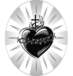 sacred heart of jesus with the symbols of the vector image